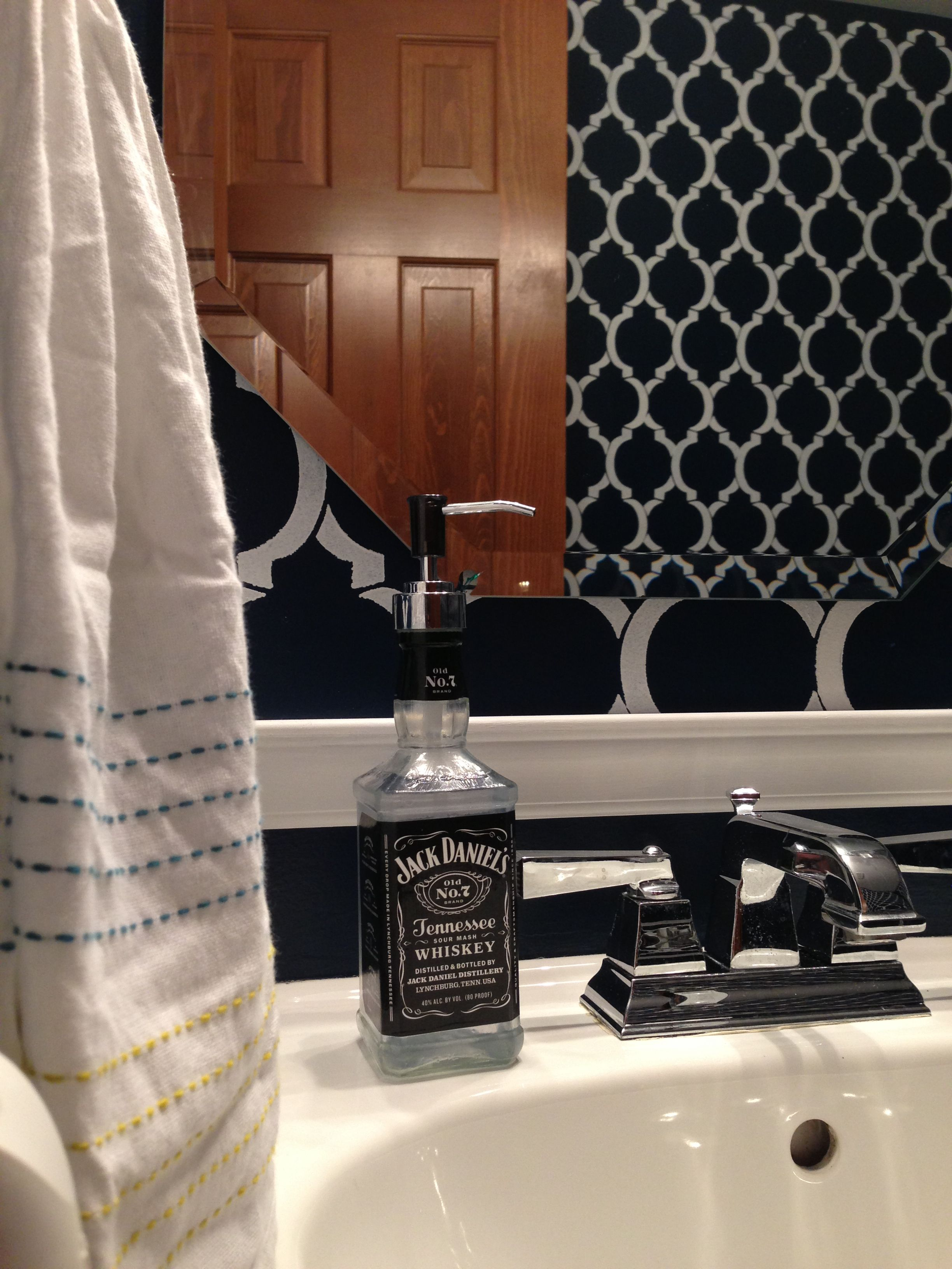 Moroccan Stencil Painted Bathroom With Jack Daniels Soap