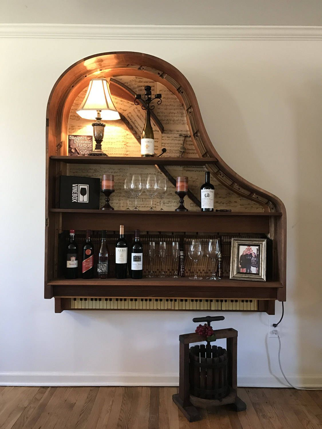 Vintage Griffith Baby Grand Piano Book Shelf Wine Bar By