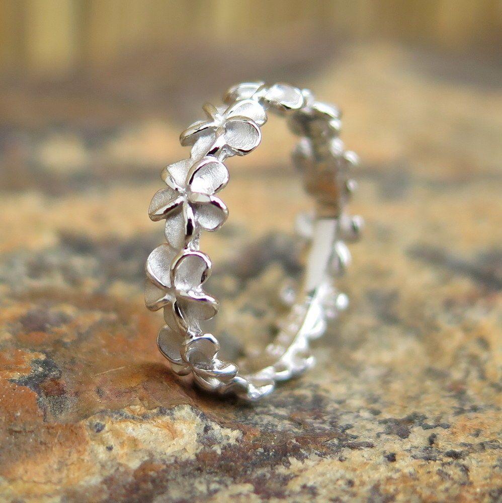 Mm plumeria flower lei hawaiian jewelry silver wedding ring