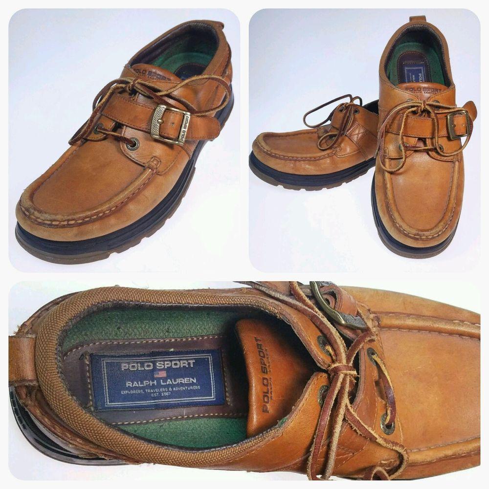 VTG POLO SPORT Ralph Lauren Mens 12 D Ranger Boat Shoes Lace  Buckle Vintage
