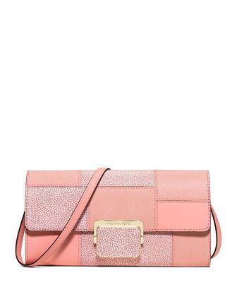 48e1b7b0cd802b MICHAEL Michael Kors Cynthia Large Patchwork Evening Clutch Bag, Pale Pink