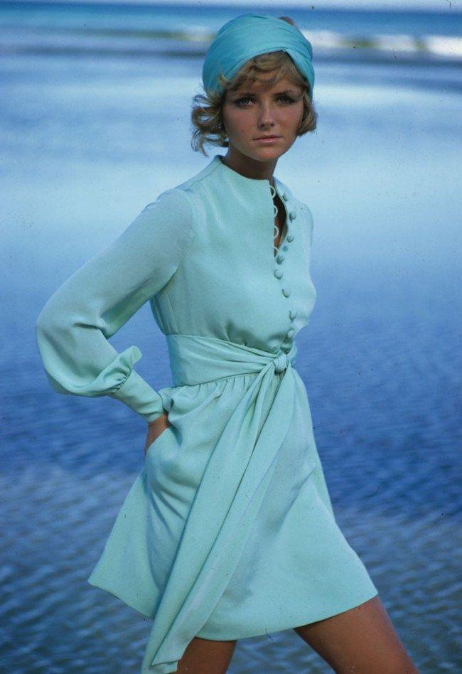 follow me @cushite Feeling blue- Cheryl Tiegs models a dress by Stan Herman in the 1960s.
