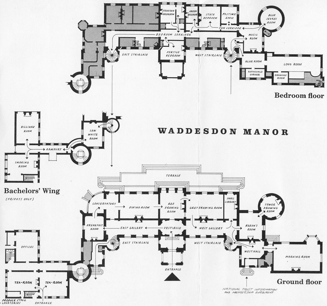 Waddesdon manor plans of the ground floor and chamber for Manor floor plans
