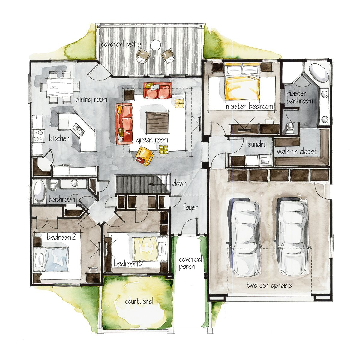 Real Estate Watercolor 2d Floor Plans Part 3 On Behance Floor Plans How To Plan House Floor Plans