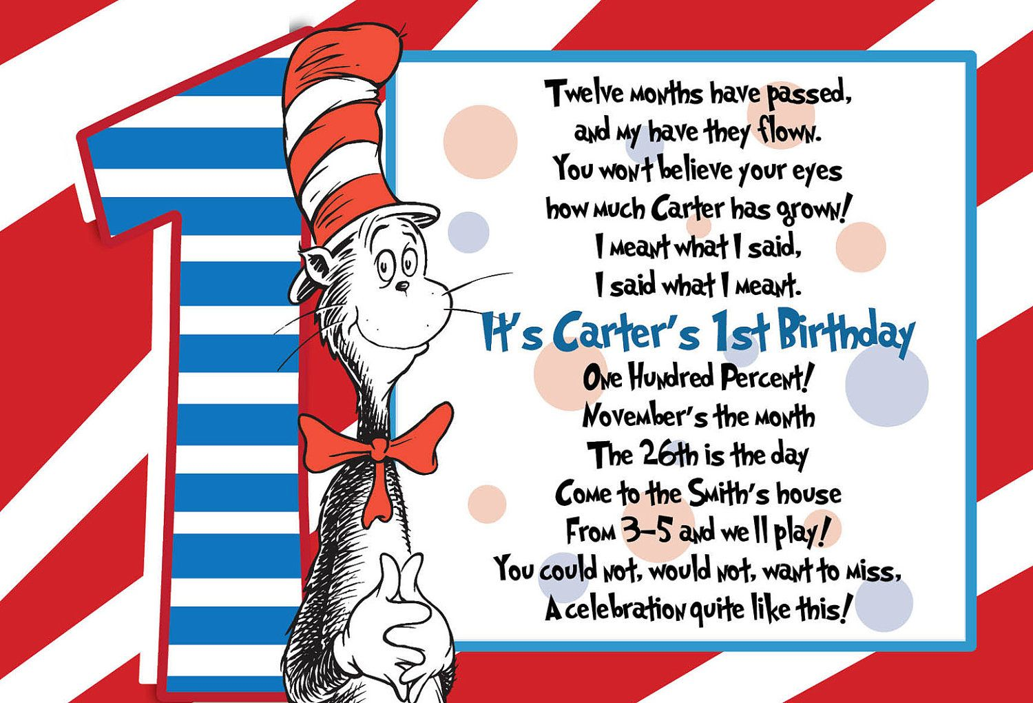 Dr Suess St Birthday Postcard Invitation Package  Via