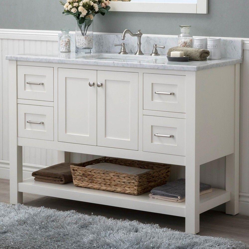 white shaker 48 bathroom vanity 4 drawers 1 sinks open on vanity for bathroom id=13918