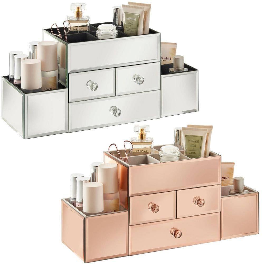 Best Beautify 3 Drawer Mirrored Glass Jewellery Box Makeup 400 x 300