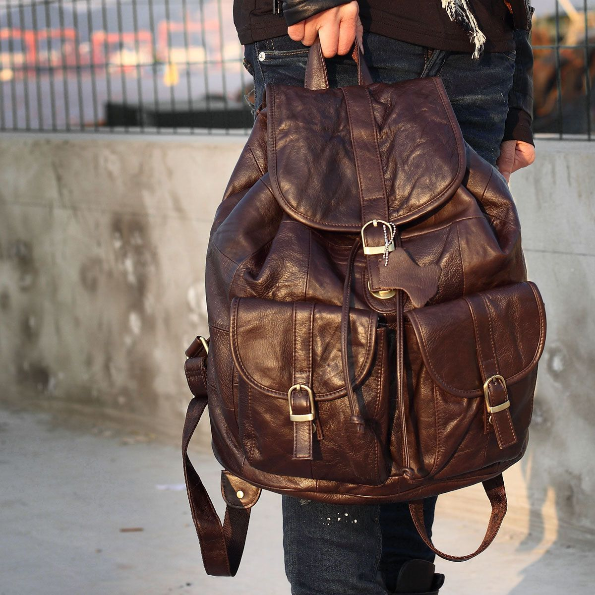 Large calf leather bag   women / man  Backpack  bag  by art1986, $220.00