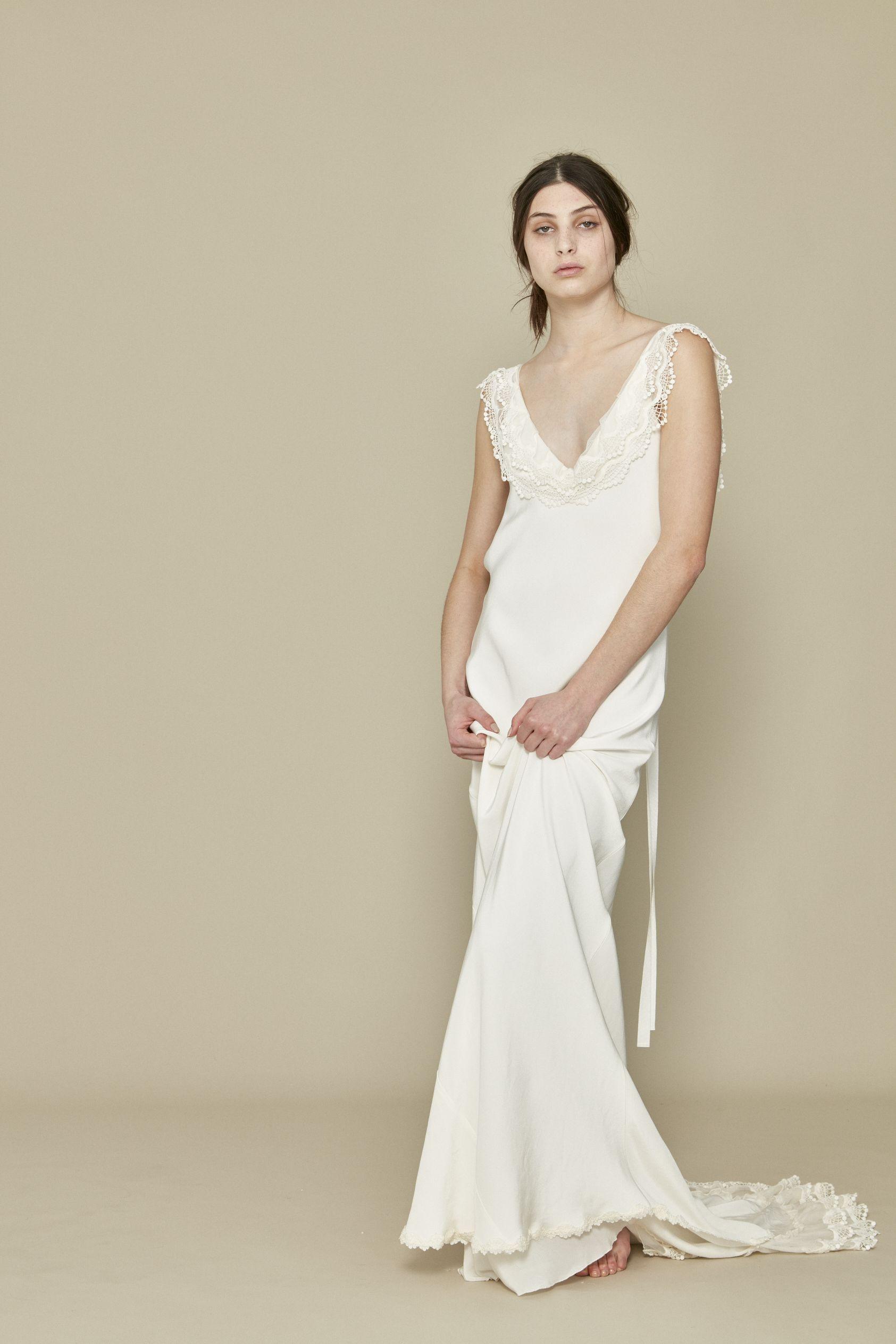 Claudette dress, silk bias cut with lace trimmed train, modern bride ...