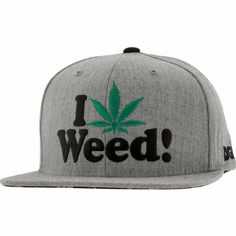 DGK I Love Weed Snapback Cap in athletic heather  b280d0a440f