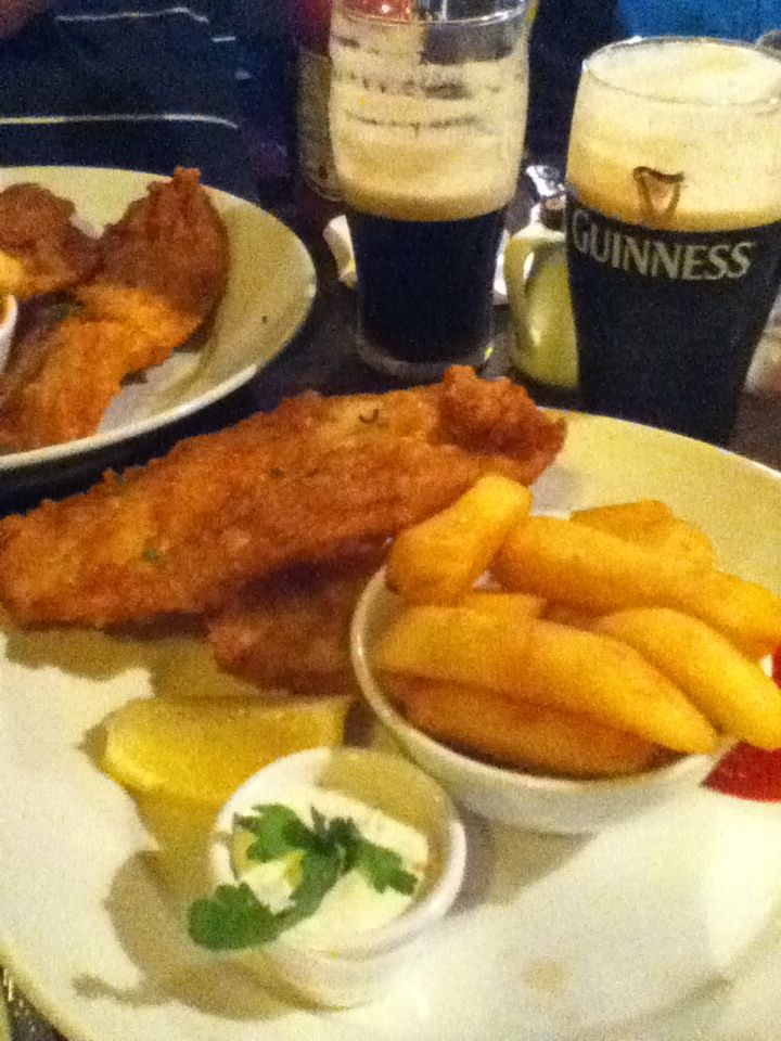 Like Mom & Pop's fried fish & home made french fries  Traditional Irish food...fish, chips and a Guinness