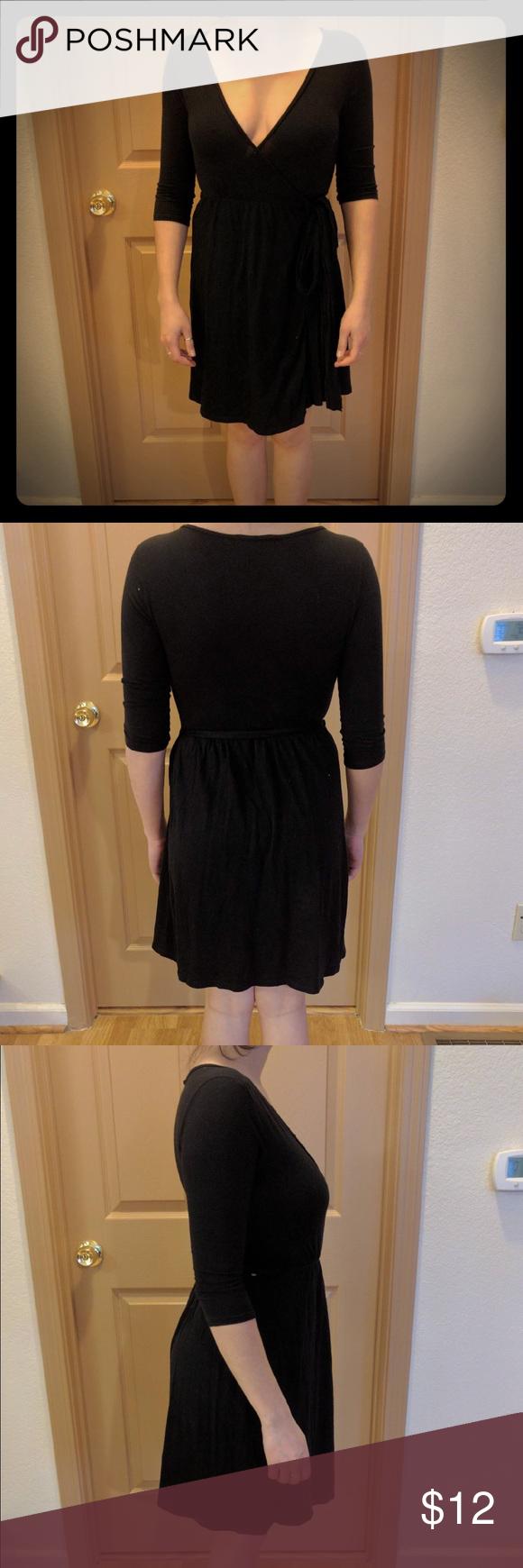 Black wrap dress wrap dresses american eagle outfitters dresses