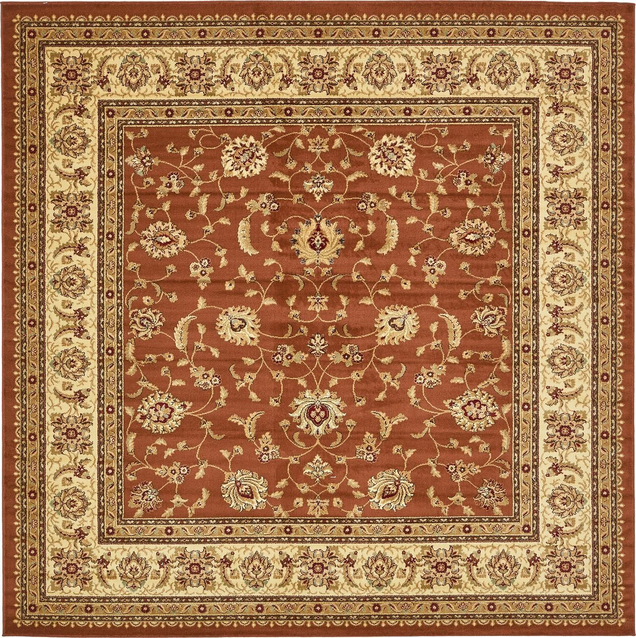 Brick Red 10 X 10 Classic Agra Square Rug Area Rugs Esalerugs Square Area Rugs Floral Area Rugs Area Rugs