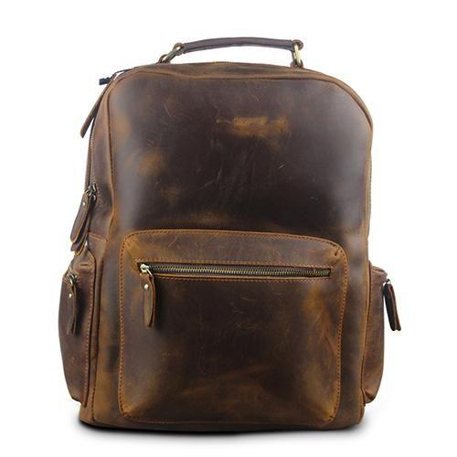 ce7ae302c327 Crazy Horse Leather Backpack Men Backpacks Casual Daypacks Leather Laptop Bag  Men s Travel Shoulder Bags Male Bag