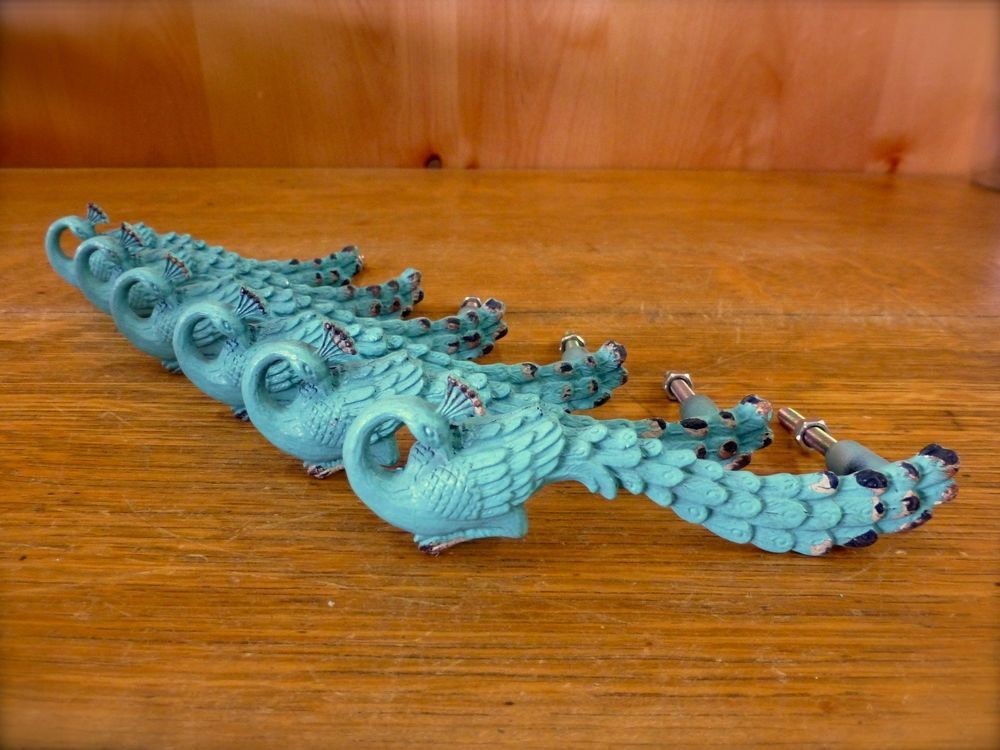 6 BLUE PEACOCK BIRD DRAWER CABINET PULL HANDLE KNOB vintage shabby chic hardware #Unbranded