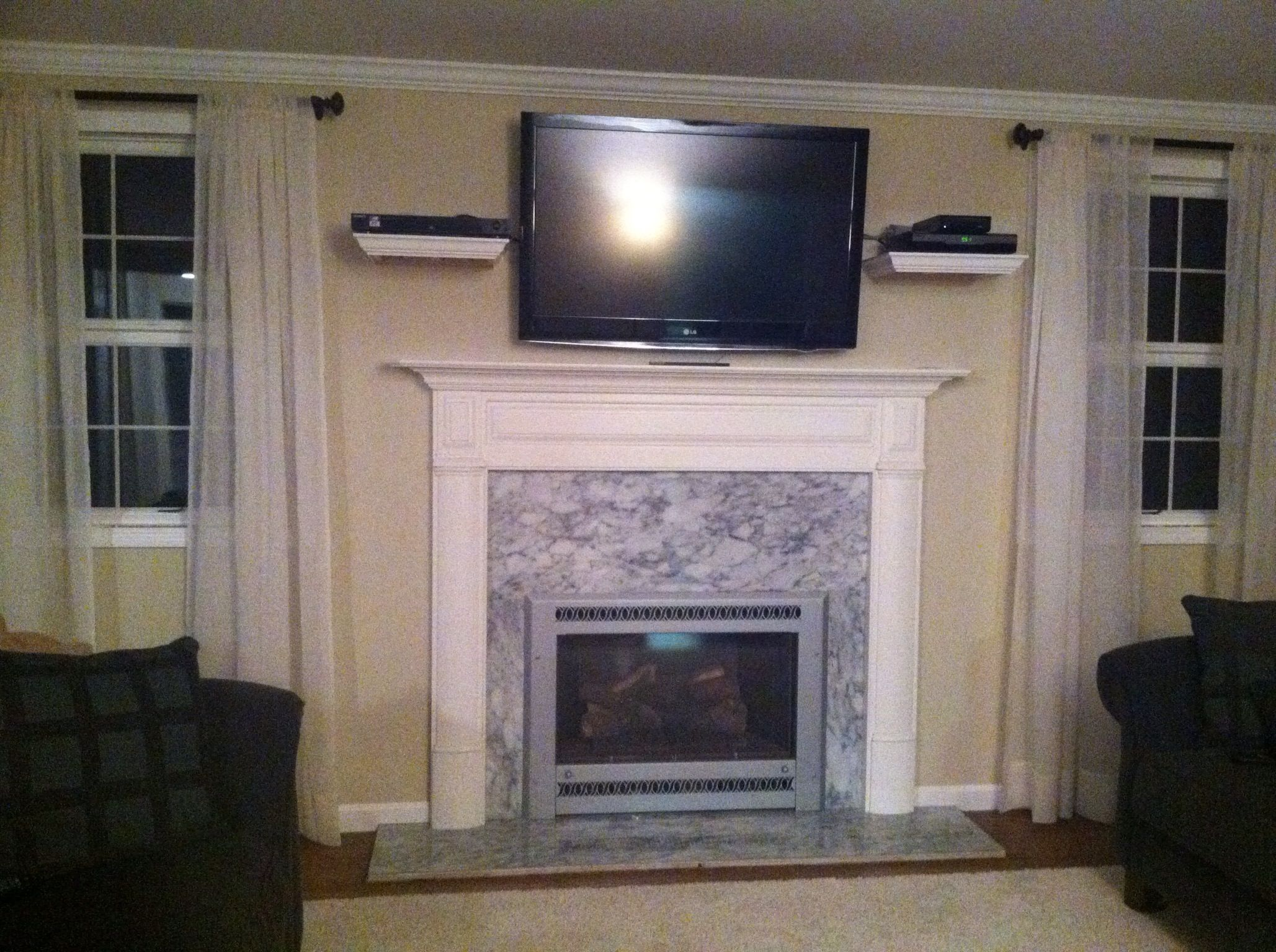 Shelving for wall mounted tv finished projects tv - Tv wall mount above fireplace ...
