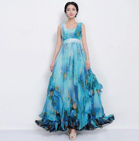 Blue Floral A-line Maxi Dress Bohemian Wedding Bridesmaid Full ...