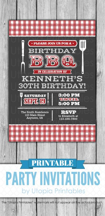 A Printable Red White And Dark Gray Barbecue Birthday Invitation