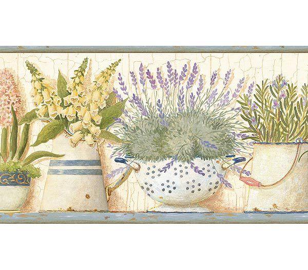 Kitchen Wallpaper Border: Gardeners Kitchen Blue Wallpaper Border