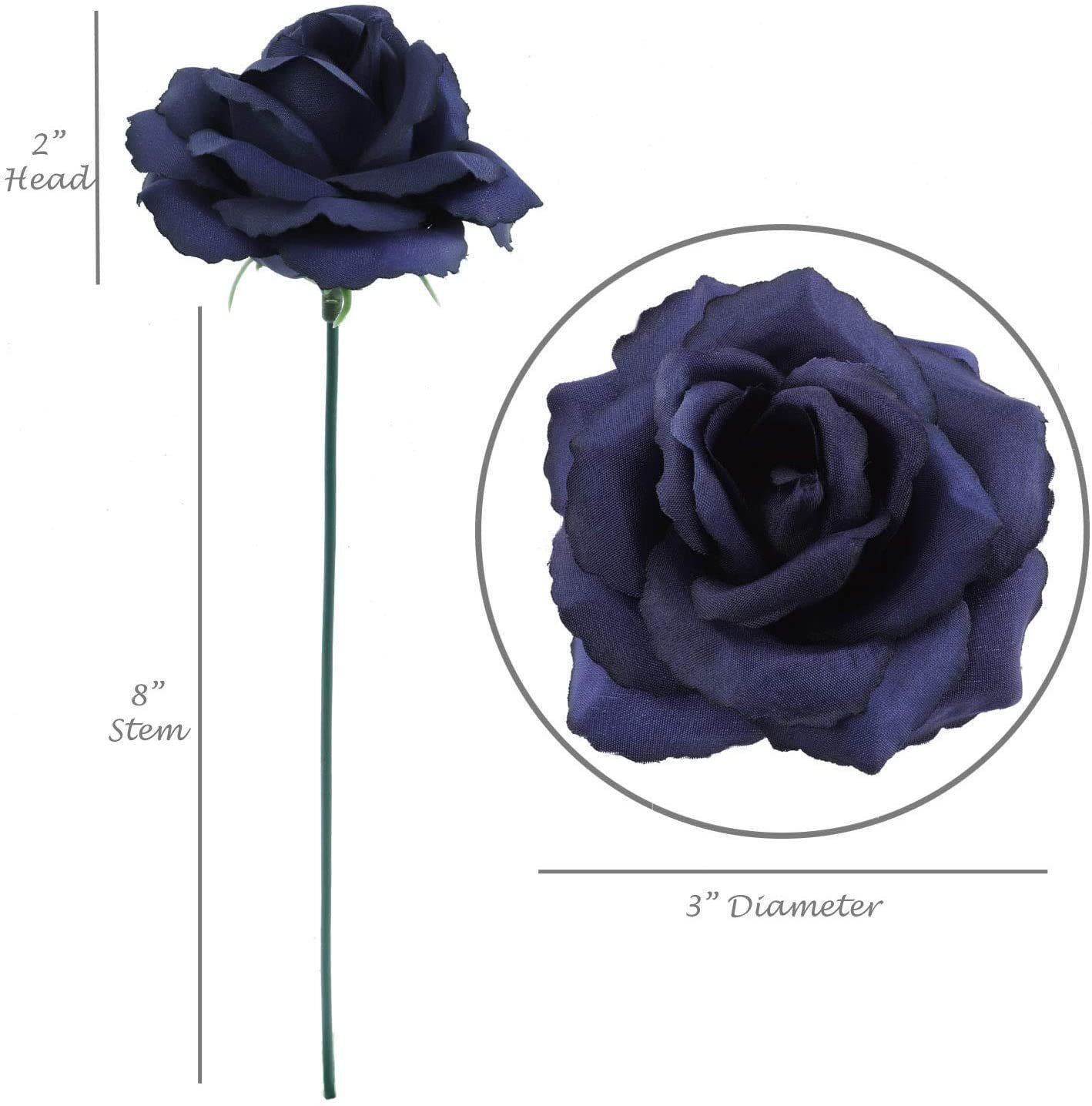"""Photo of Navy Blue Rose Pick 8"""" Long 3"""" Wide Box of 50"""