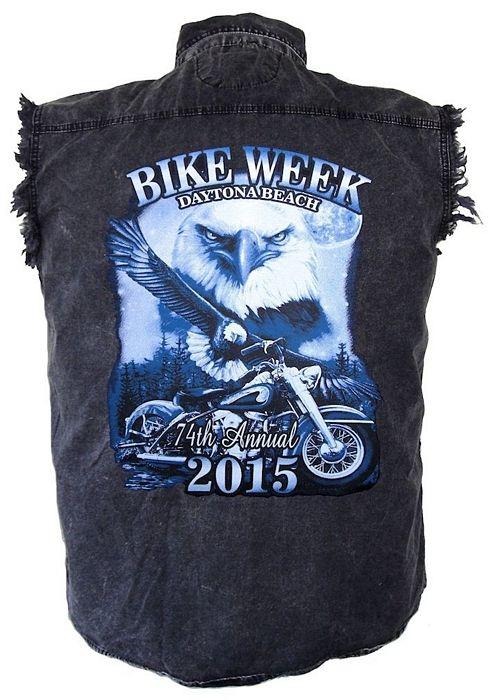 Daytona Beach Bike Week 2015 Denim Sleeveless Shirts Daytona