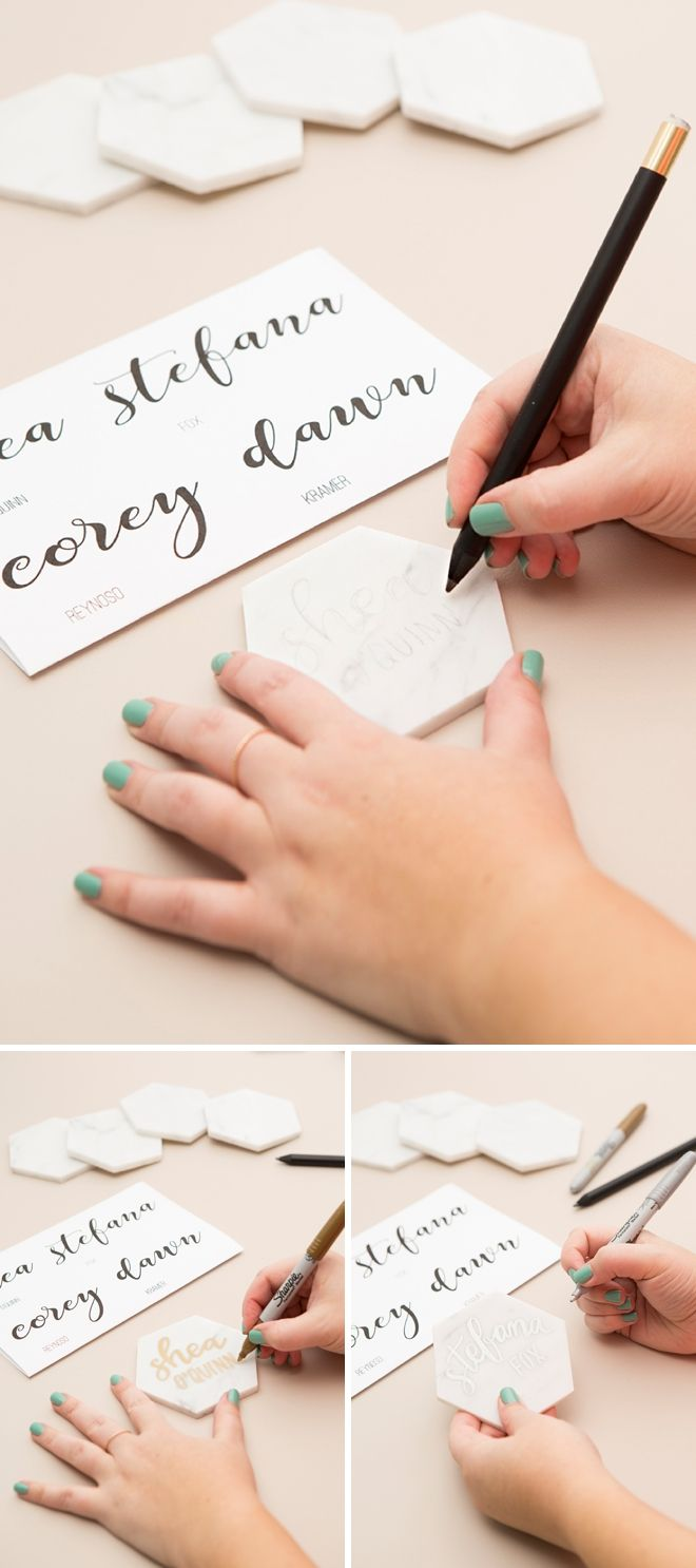 These diy hexagon marble tile place cards are a must see place