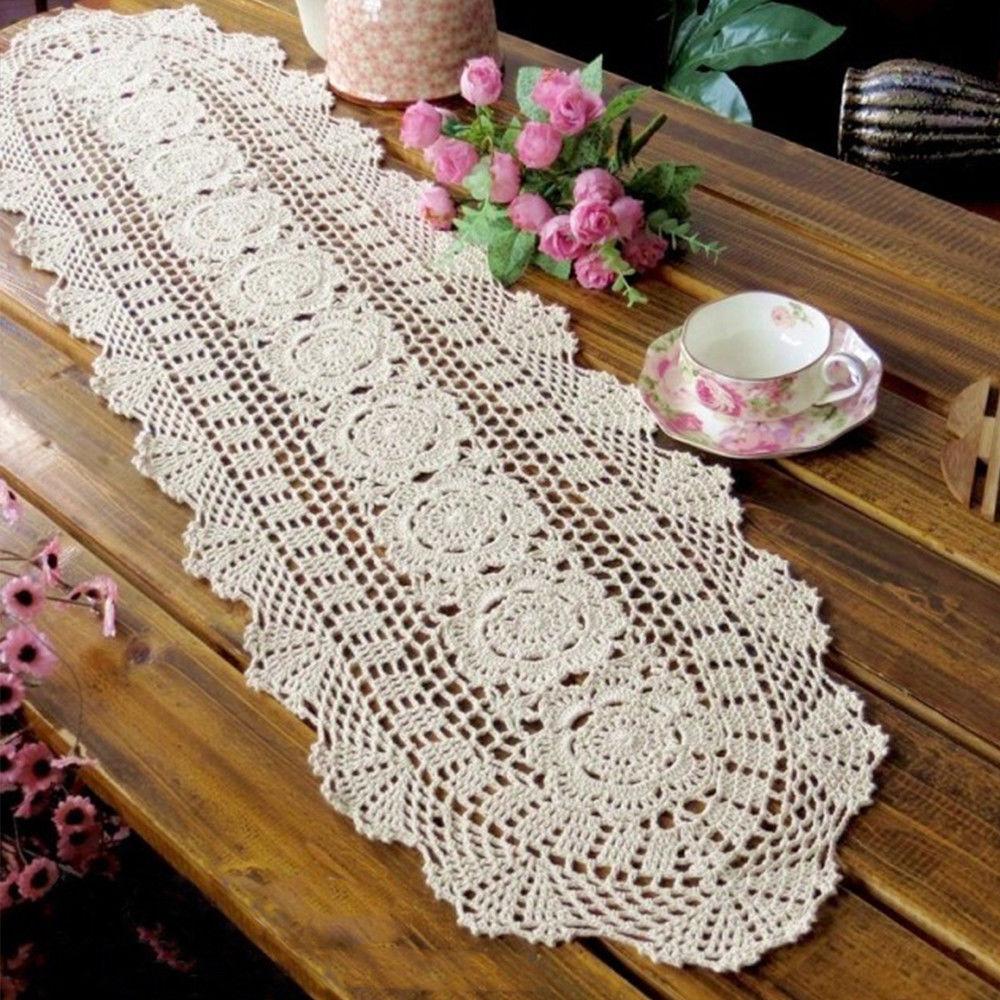 7 99 Oval Beige Crochet Lace Doily Vintage Cotton Table