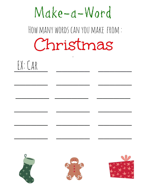 Tolle Weihnachten Wort Aktivitäten Printables Bilder - Gemischte ...