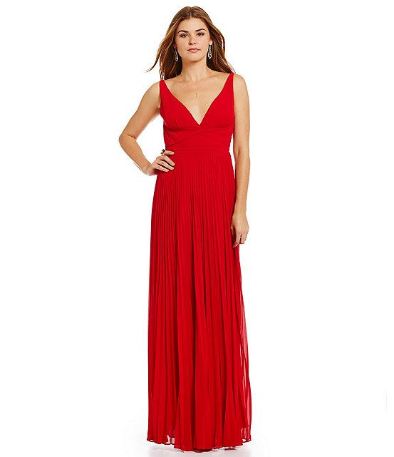 Laundry by Shelli Segal Wrap-Front Bodice with Open-Back Gown