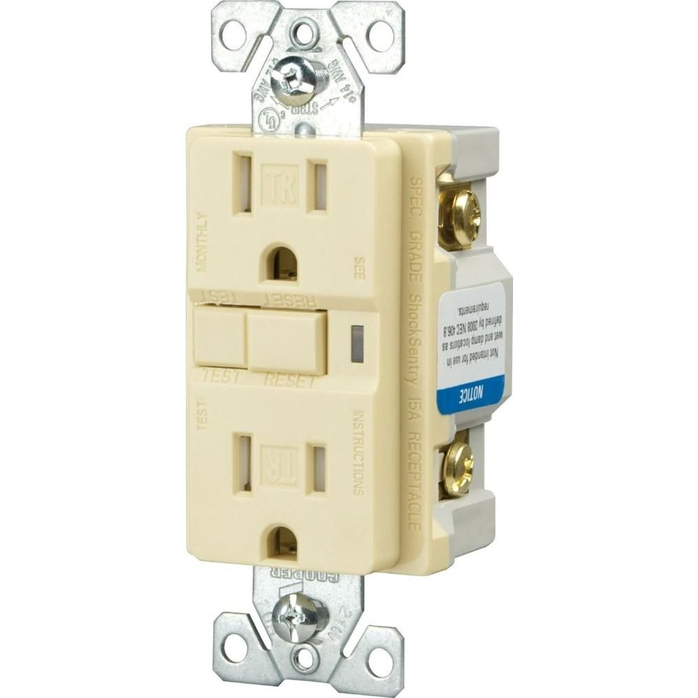 20 Amp Tamper Resistant Gfci Decorator Duplex Receptacle Almond Cooper Wiring Devices 15 Usb Charging Electrical Outlet Brown