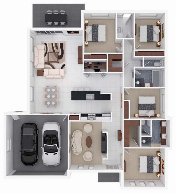 3D small home floor plans with 4 bedroom and garage | dream house ...
