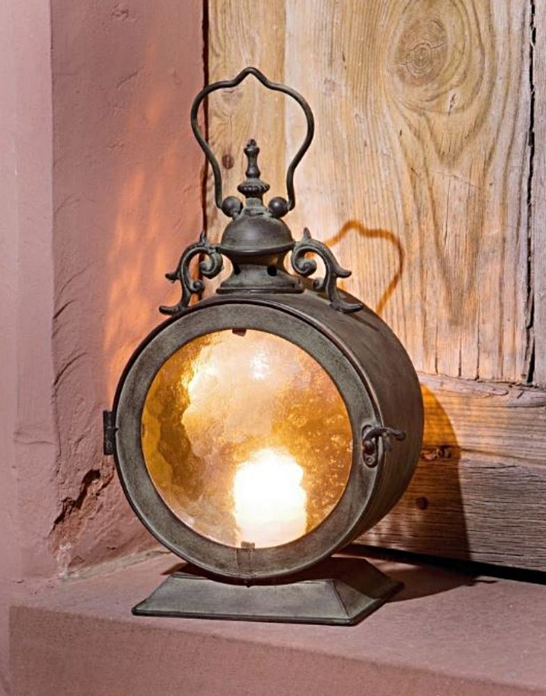 Vintage Rustic Round Candle Lantern Metal W Curved Glass Hanging Or Freestand Homegardencoll Metal Candle Lanterns Hanging Lanterns Hanging Candle Lanterns