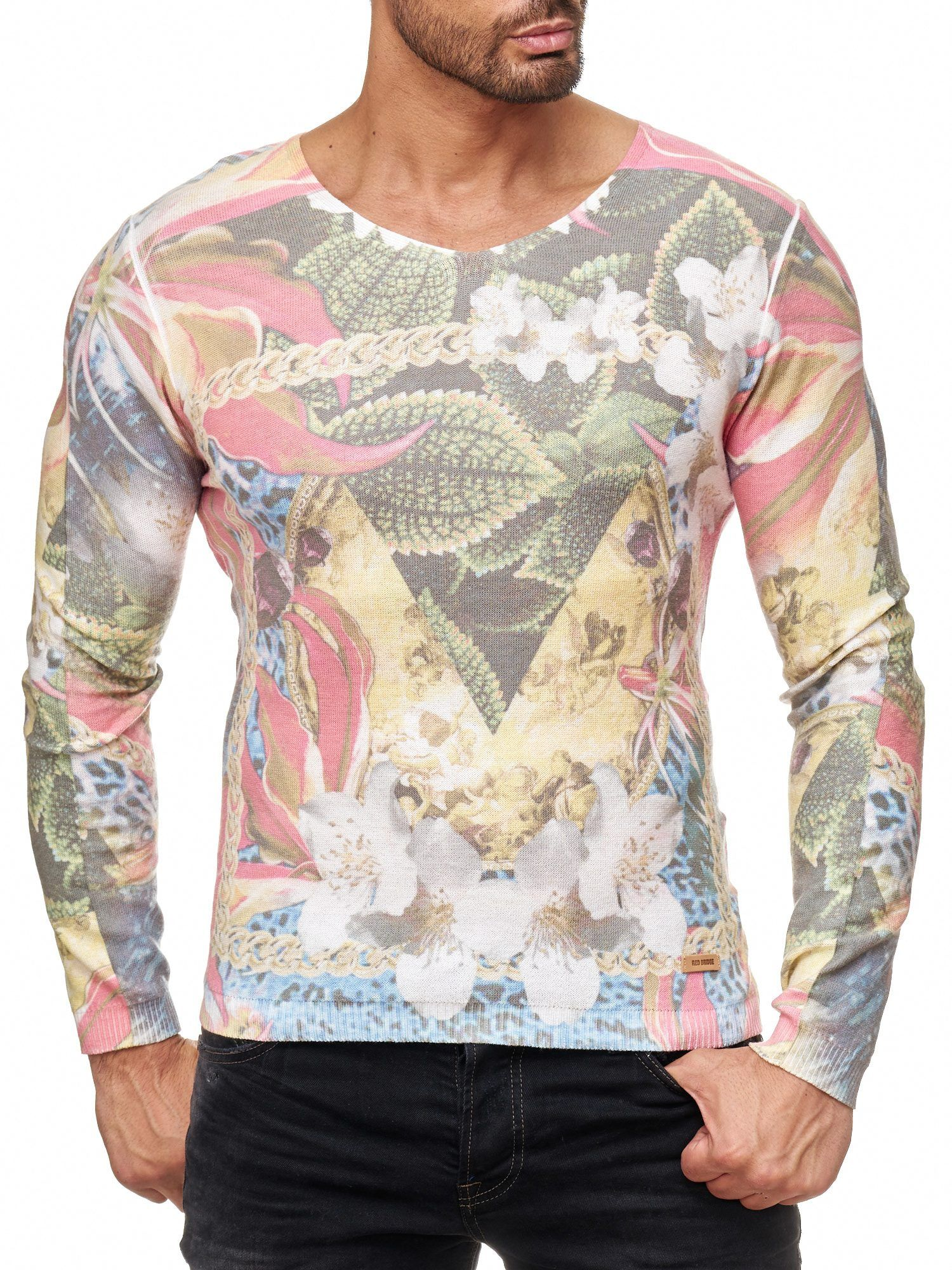 Red Bridge Herren Strick-Pullover   SLIM-FIT   Sweatshirt   Chain Flowers   ff549ad9c6