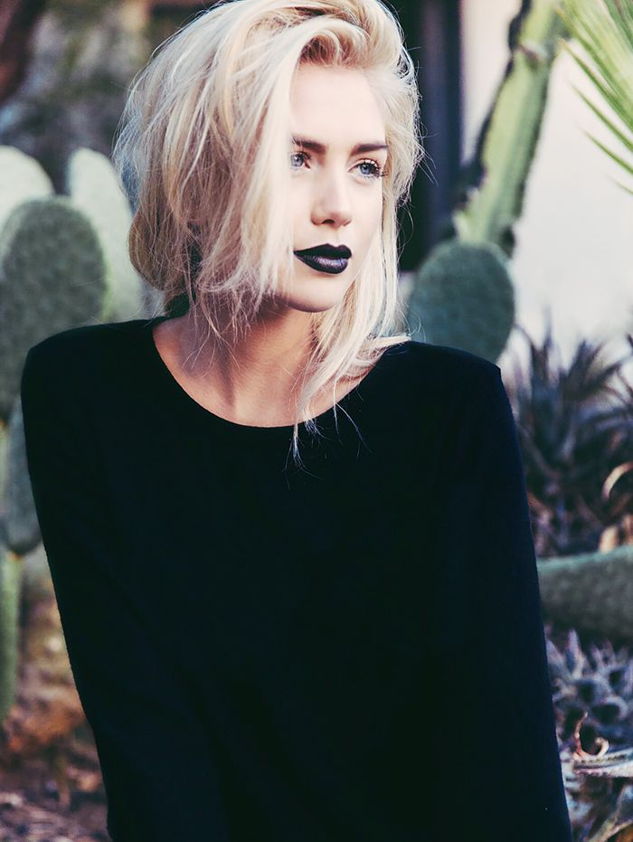 deep purple-black lips with white blond hair