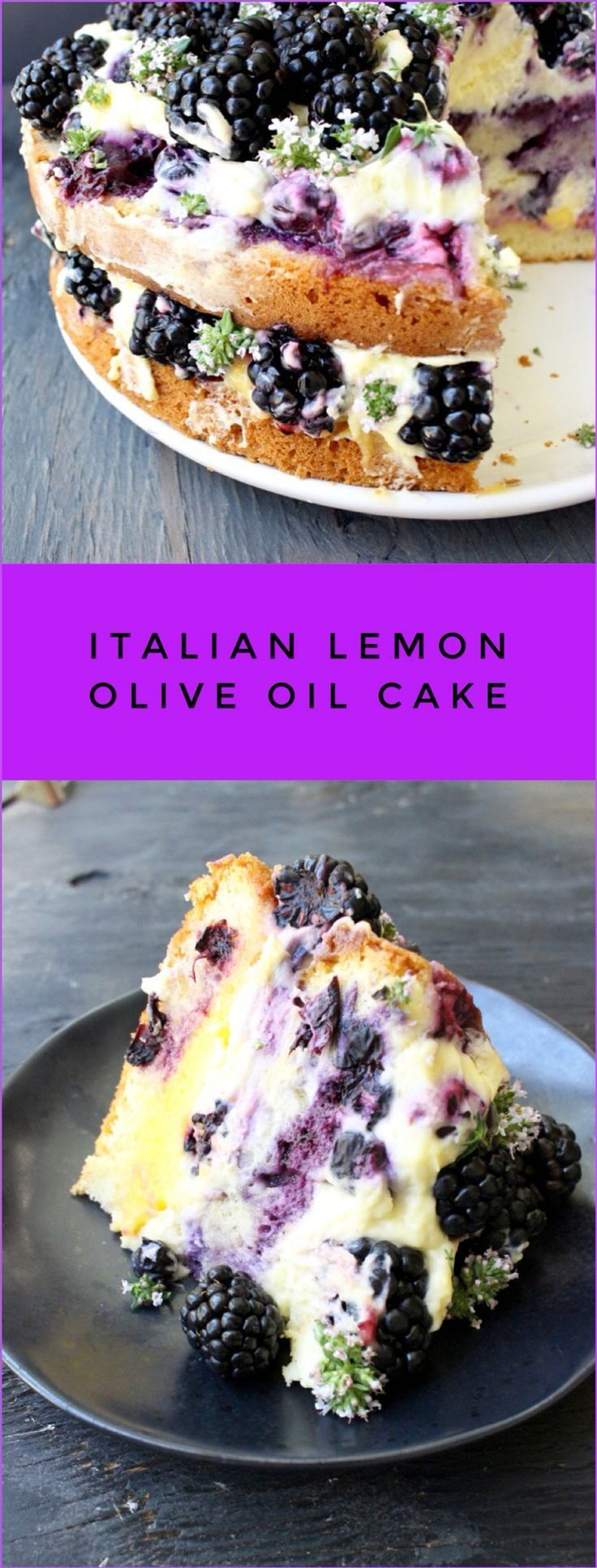 Best Italian Lemon Olive Oil Cake Recipe with Berries #oliveoils
