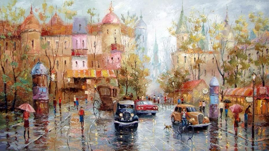 Dmitry Spiros(1971~ a Russian contemporary impressionist artist)「Rainy day」