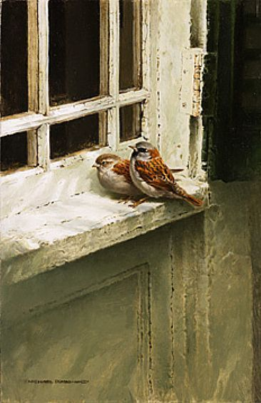 Sparrows On The Old Window Ledge: