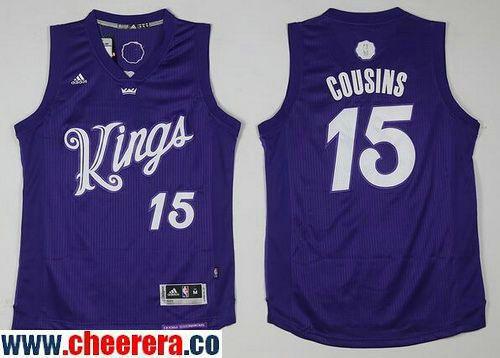 3a04ad9d5 Men s Sacramento Kings  15 DeMarcus Cousins adidas Purple 2016 Christmas  Day Stitched NBA Swingman Jersey