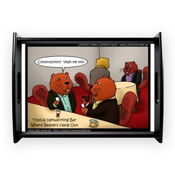 #Funny #Networking #Beavers Lrg #servingtray by @LTCartoons #humor #cafepress #pinterest #wildlife 20%off Ends 3/5 Code LUCKYCHARM