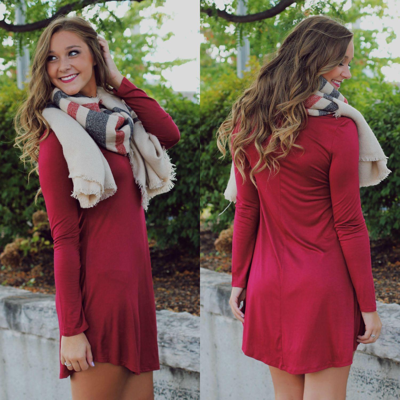 Solid long sleeve tshirt dress u uoionline womenus clothing