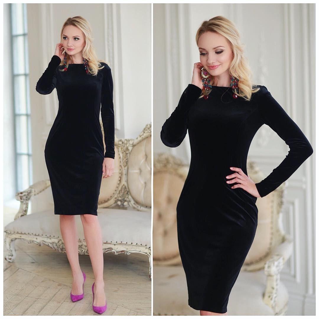 fbb4184be68fbea Стильное и эффектное платье #kleverina_fashion из черного бархата))❤ бархат- стрейч