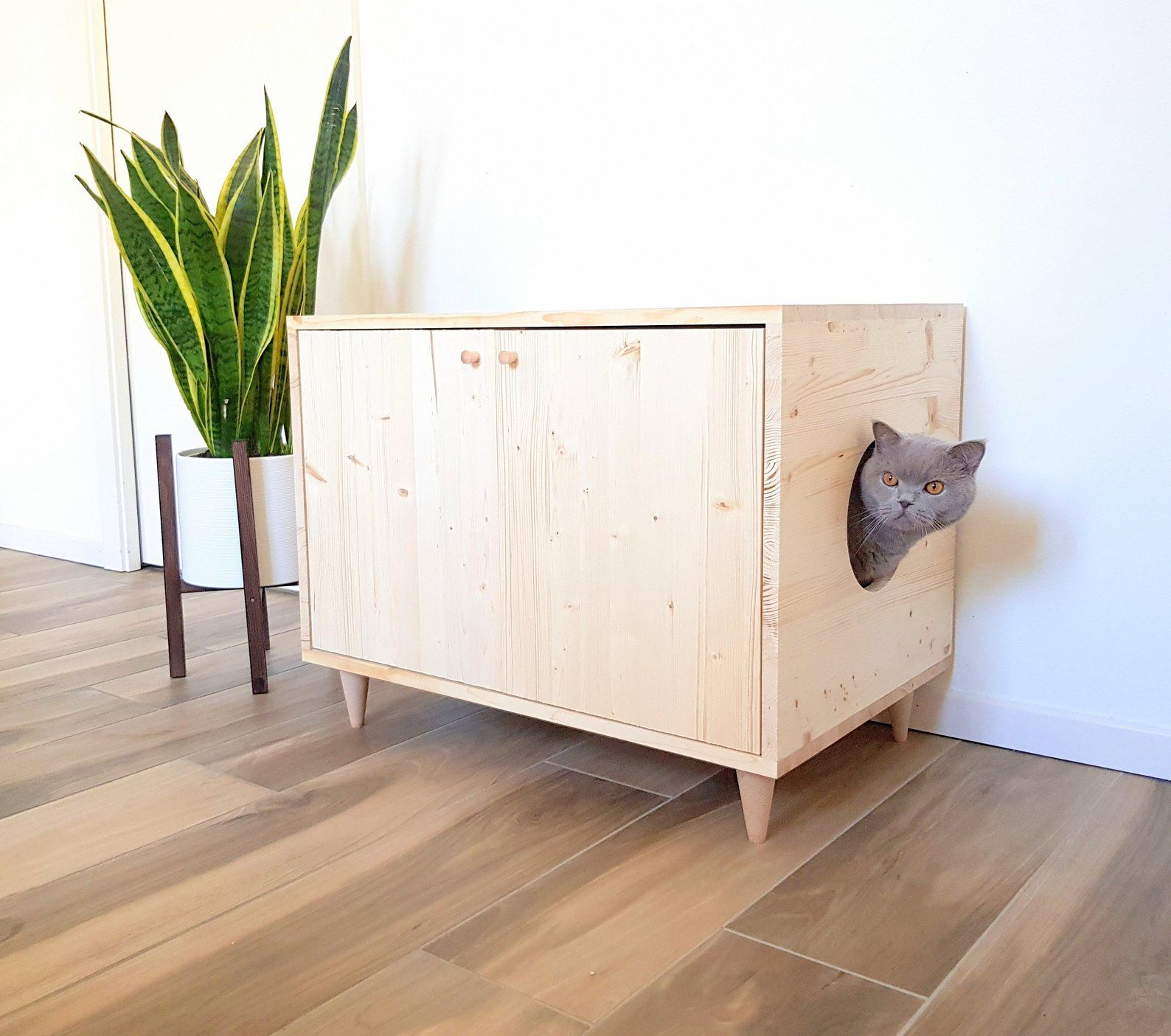 Cat Litter Box Cover Pet Furniture Cat House Modern Litter Box