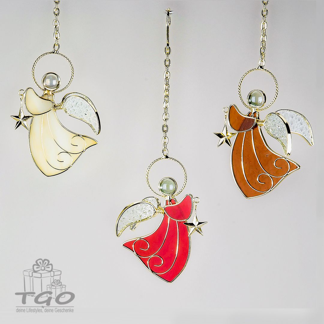 Formano Dekohanger Engel 3 Sortiert 12cm Tiffanyglas