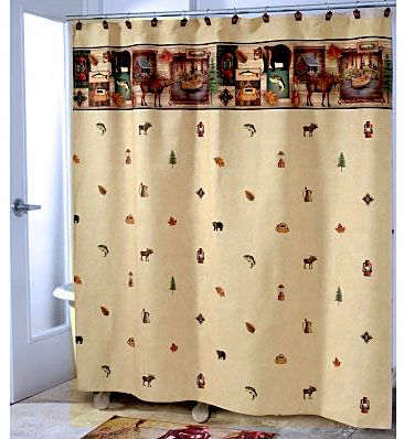 This Camping Trip Themed Fabric Shower Curtain Looks Perfect In A Cabin Or Lodge Bathroom The Design Incorporates Moose Bear Fish Lanterns