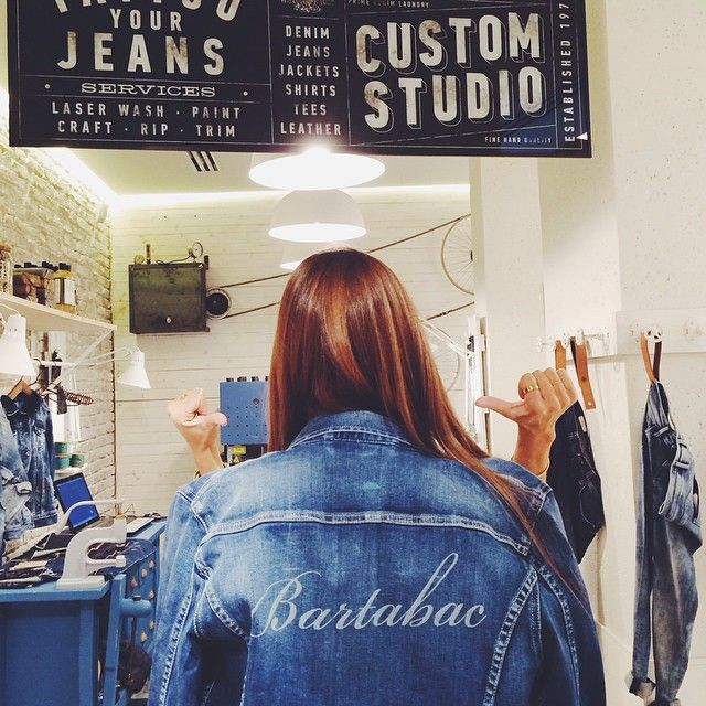 Bartabac is happy with her new customised jacket in our #pepejeanscustomstudio