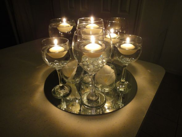 In wine glasses wedding floating candle glass diy