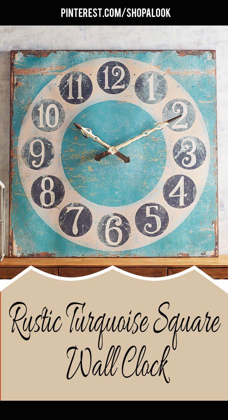 Rustic Turquoise Square Wall Clock #afflink #rusticfarmhouse ...