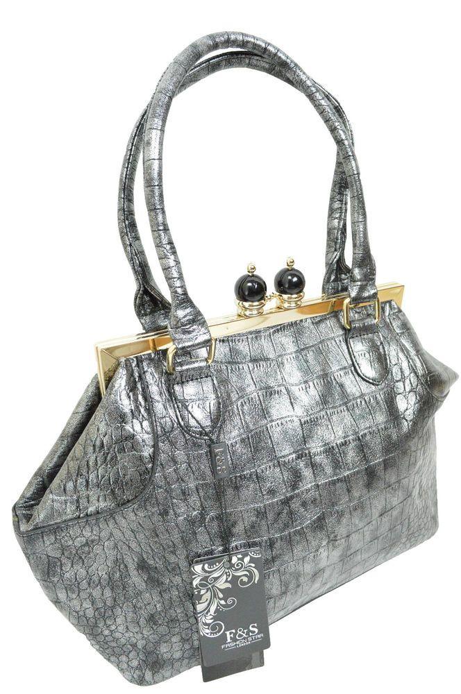 Crocodile Effect Top Handle Bowler Handbag Adriana Shoulder Bag Day Metallic