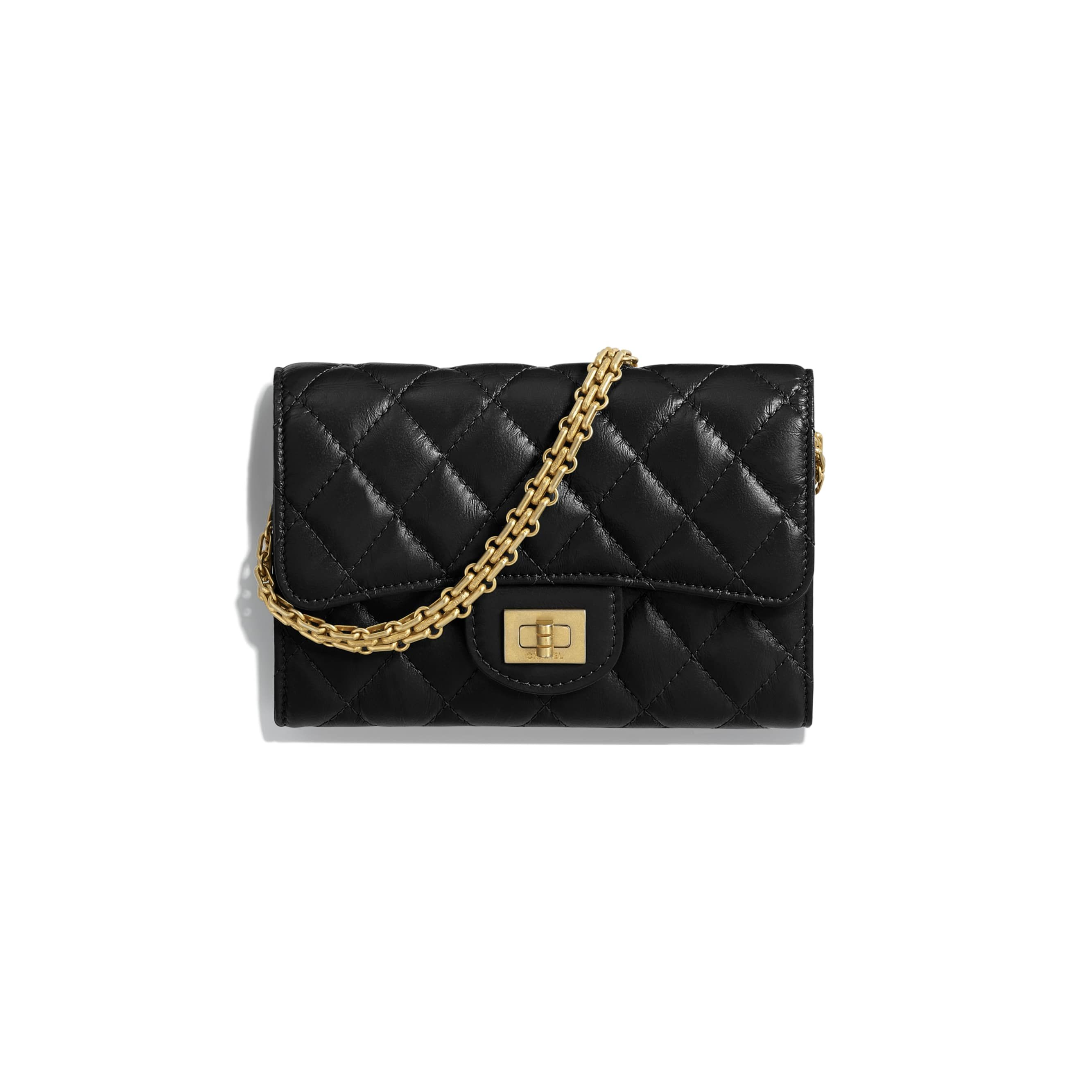 64f745a8b581 Aged Calfskin & Gold-Tone Metal Black 2.55 Clutch with Chain | CHANEL