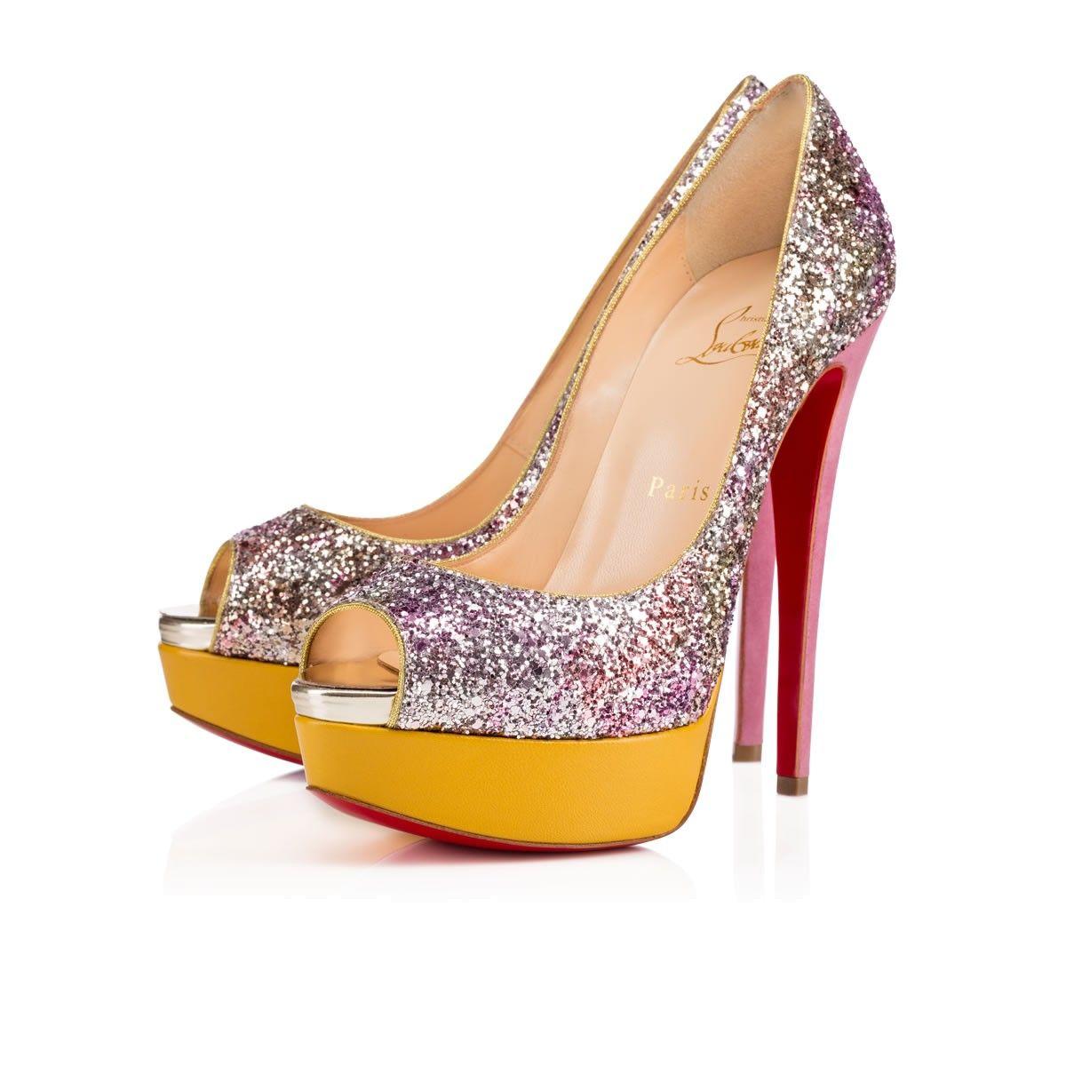 58379fc4511d Women Shoes - Lady Peep 150 Glitter Aquarium suede - Christian Louboutin
